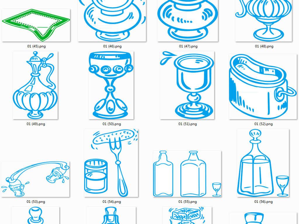 卡通矢量手绘厨房餐具图案素材