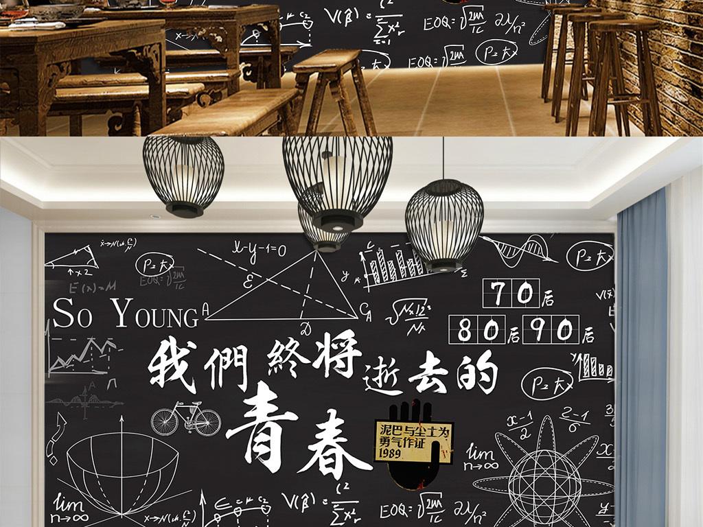 北欧手绘黑板粉笔字餐厅酒吧背景墙