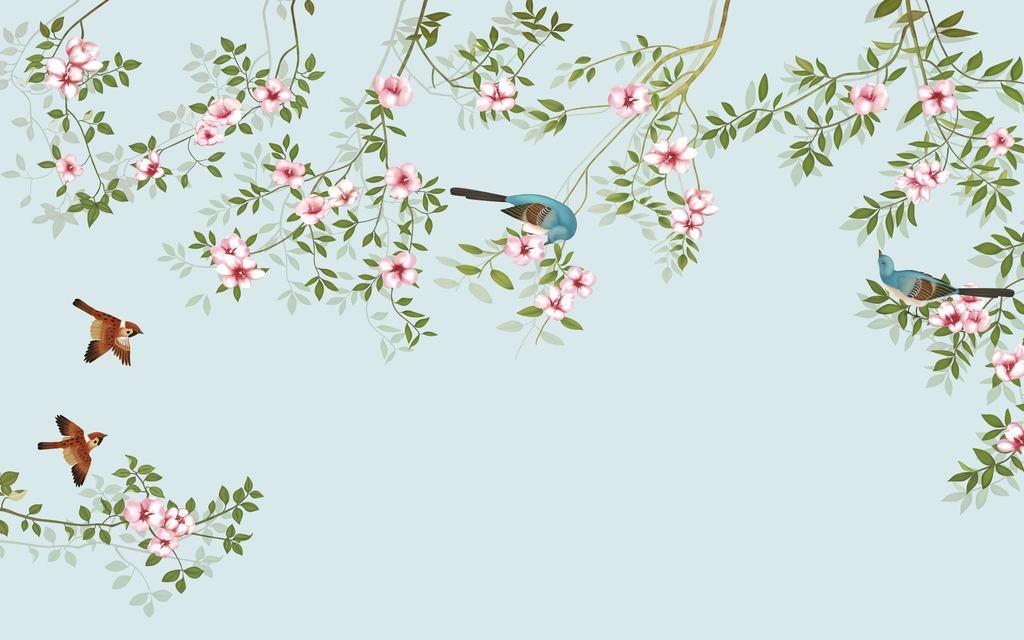 现代简约手绘工笔花鸟背景墙