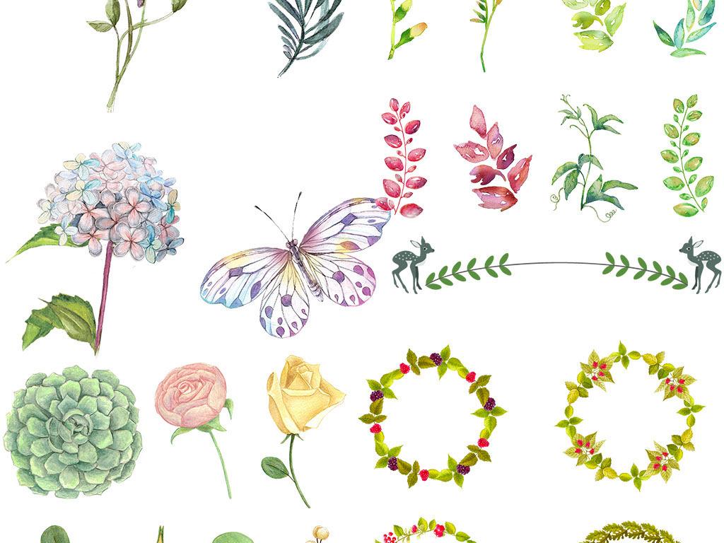 手绘水彩淡彩花卉花束叶子png免扣素材
