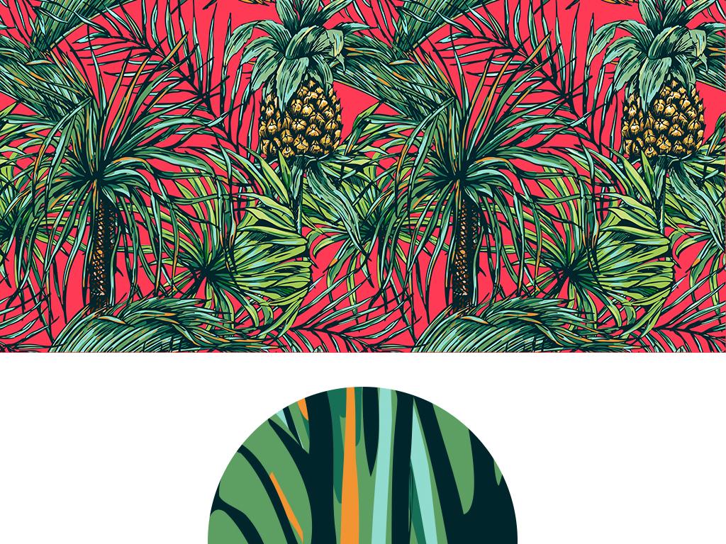 手绘菠萝背景墙
