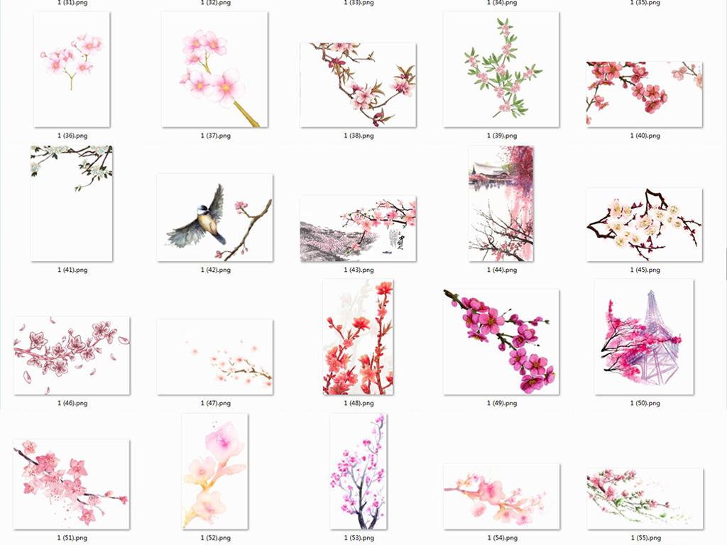 桃花樱花素材小樱花樱花梅花梅花樱花手绘花粉色花花桃花粉色粉色背景
