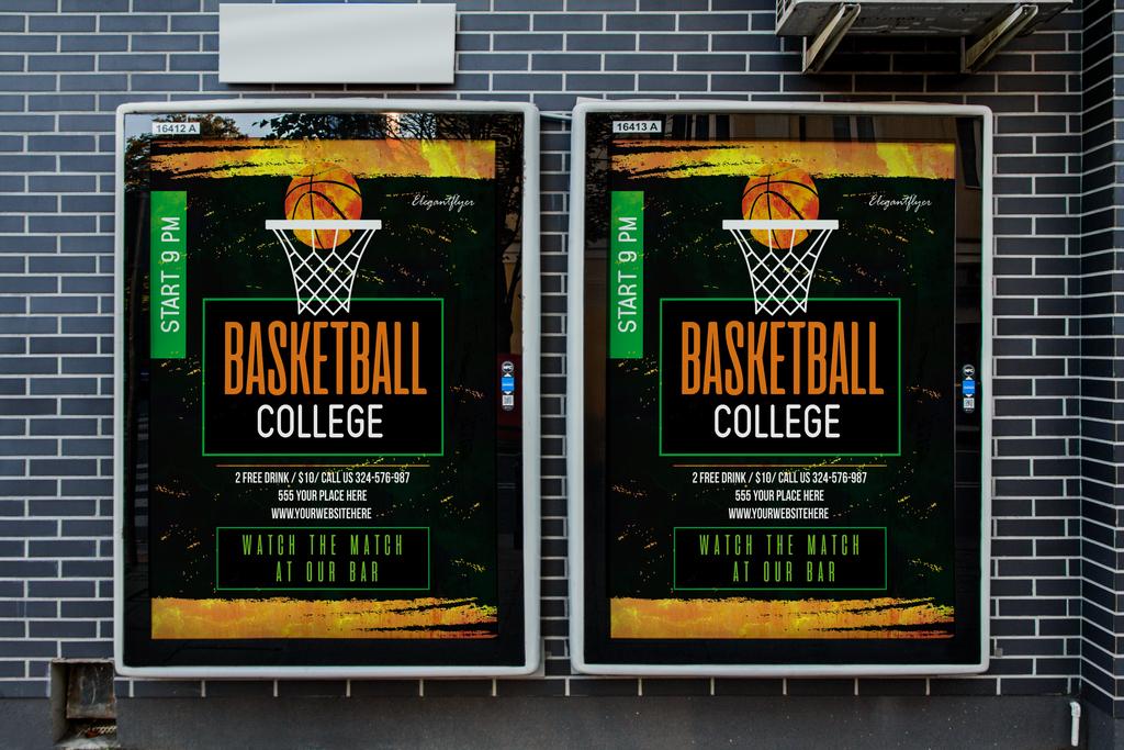 简约水彩手绘篮球争霸赛/校园篮球比赛/宣传海报