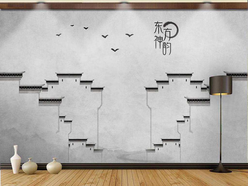 新中式写意意境手绘马头墙电视沙发背景墙