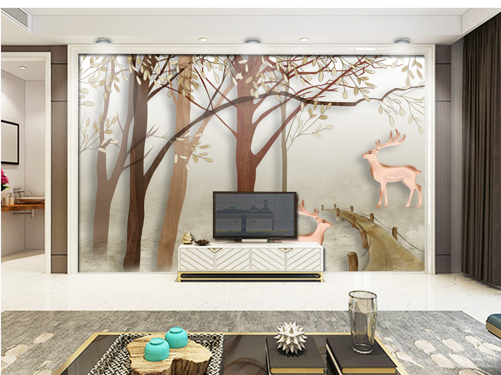 欧式手绘发财树丛林鹿电视沙发背景墙装饰画