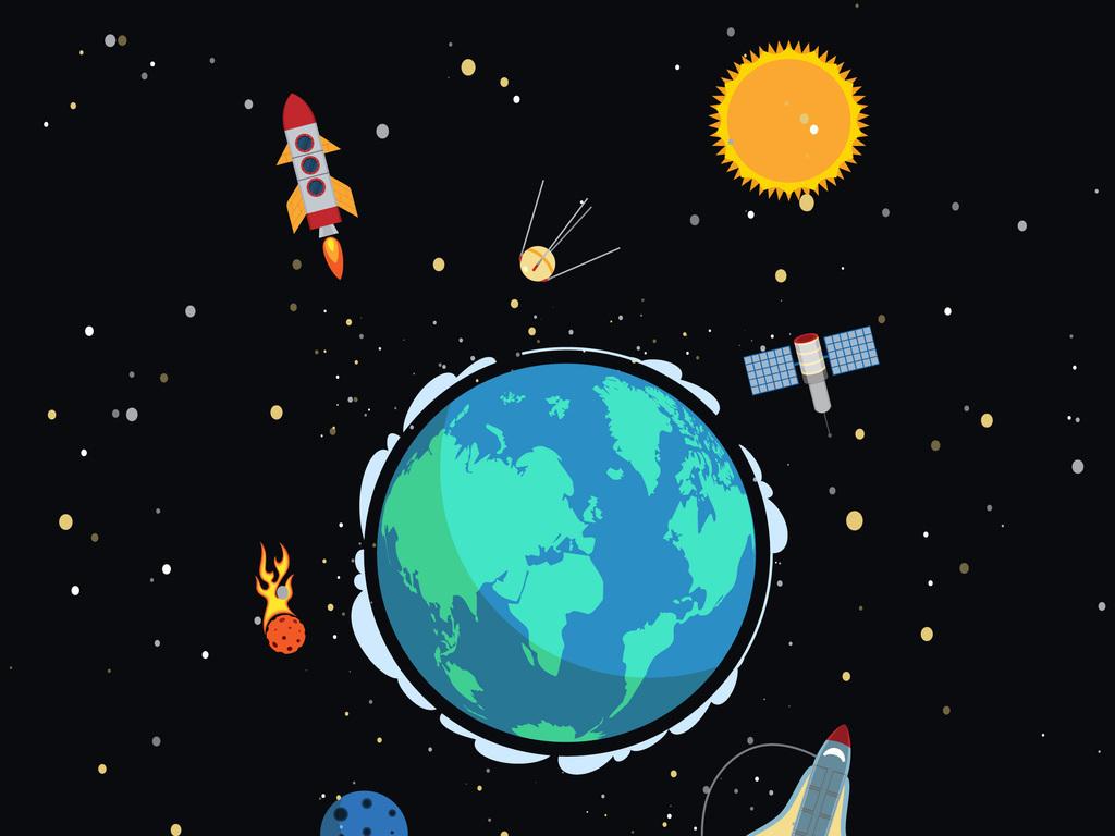 新款手绘卡通太空元素地球火箭卫星图
