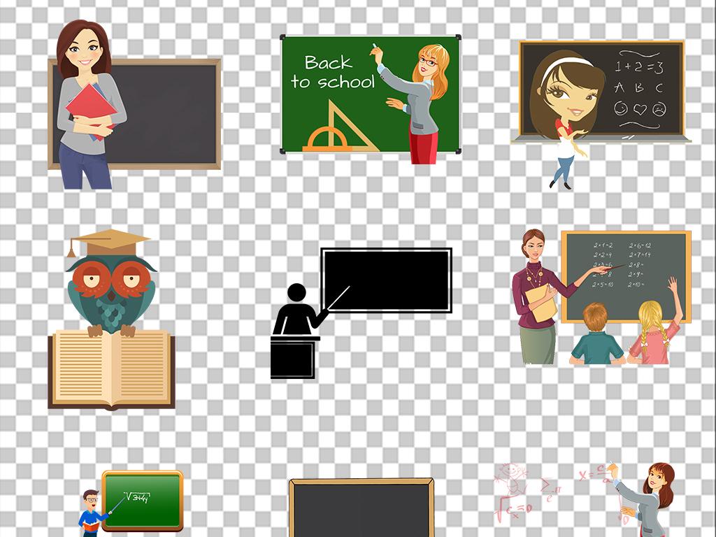 卡通教室讲课老师上课黑板演讲培训素材