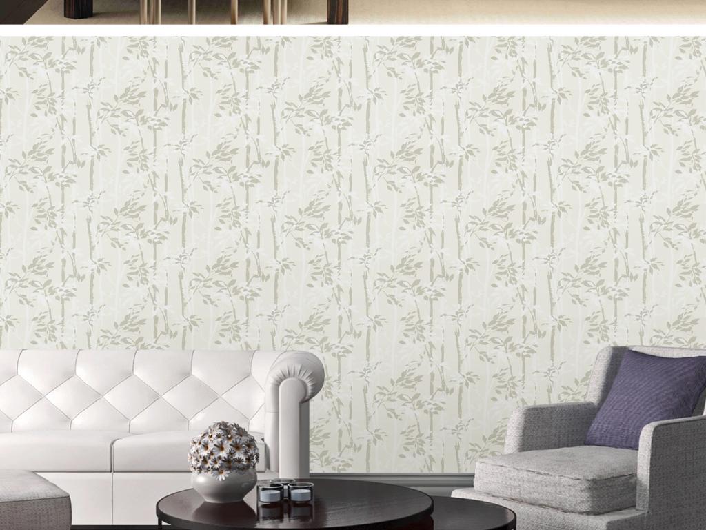 欧式手绘复古新中式竹子竹林墙纸壁画背景墙