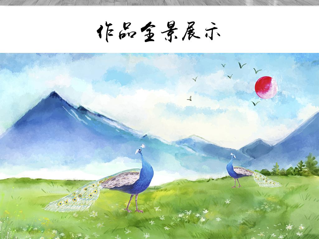 新欧式简约手绘孔雀山川电视背景墙壁纸