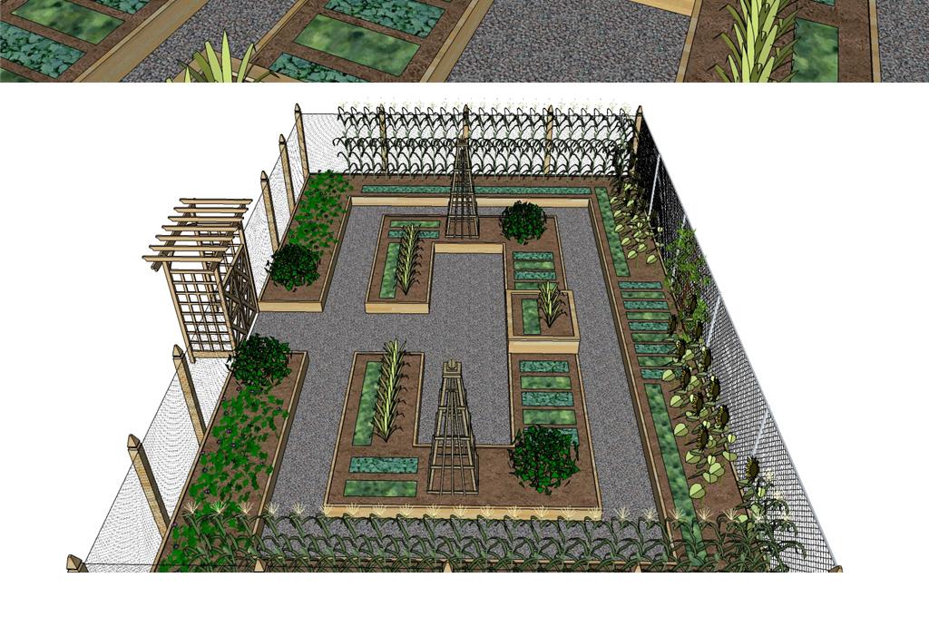 屋顶花园庭院种菜院子菜园菜地su模型图片
