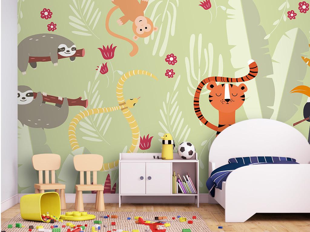 可爱大自然卡通动物手绘儿童卧室装饰背景墙