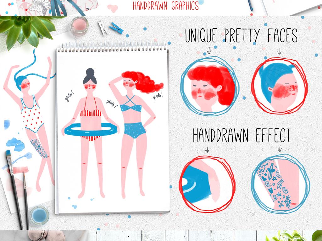 手绘泳池派对,游泳的人们插图系列png免抠+矢量素材