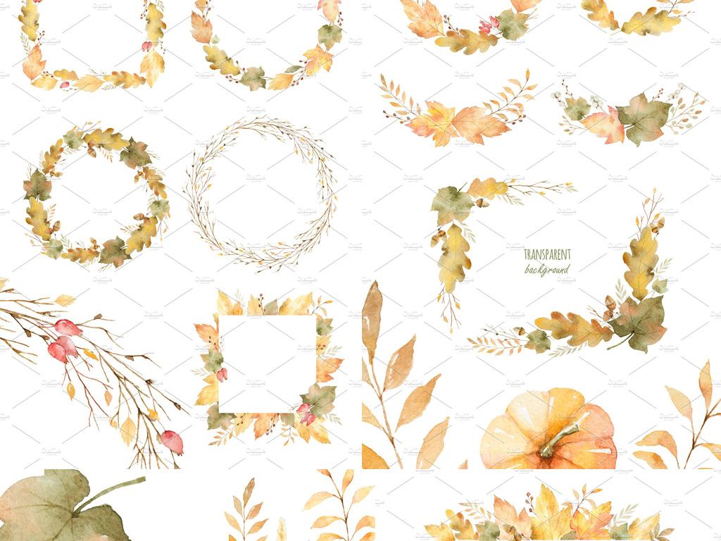 水彩画秋季枫叶边框花环高清png免抠海报设计素材