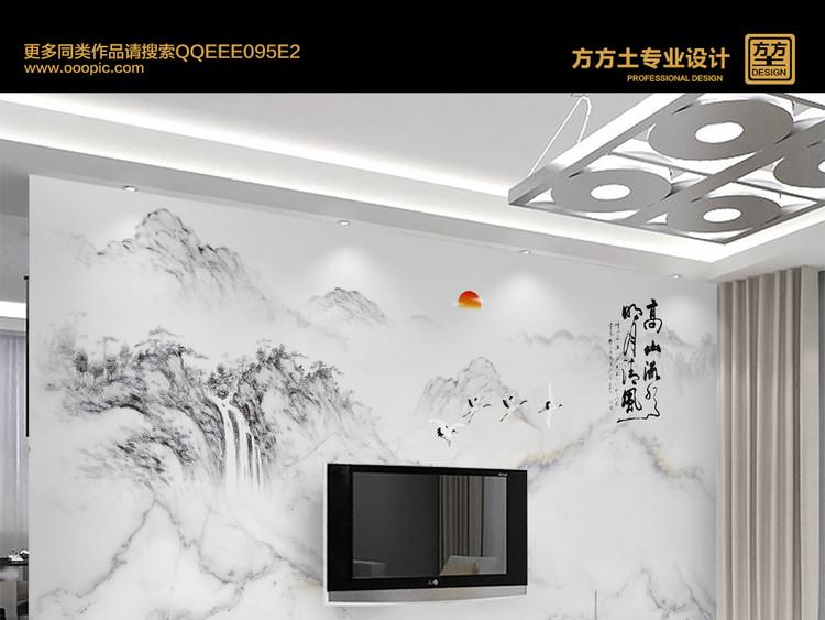 意境山水高温烧新中式大理石纹理电视背景墙