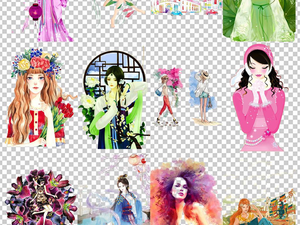 卡通手绘素描模特人物png图片海报素材