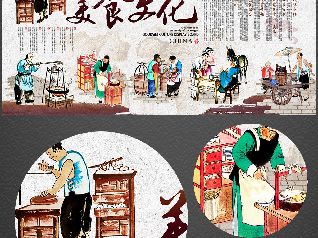 中华传统美食文化背景墙展板