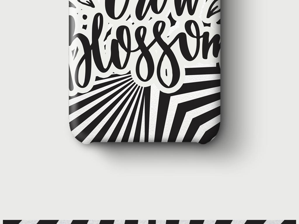 黑白抽象几何图形创意手机壳图案设计图片
