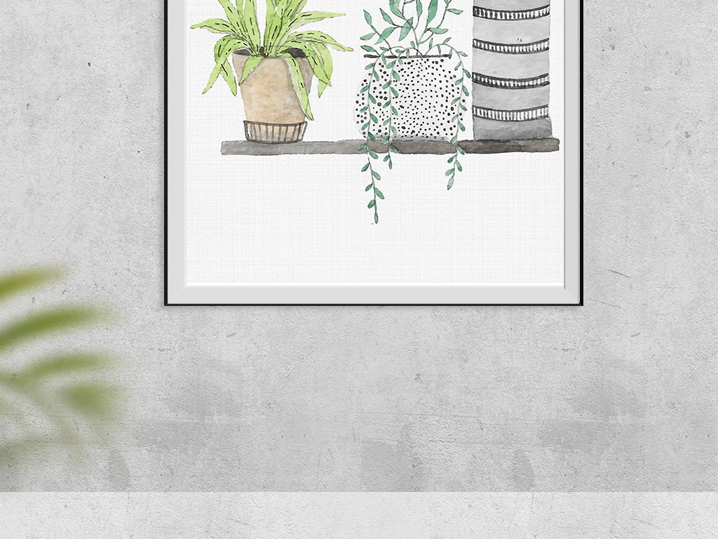 北欧简约多肉植物绿色盆栽装饰画无框画
