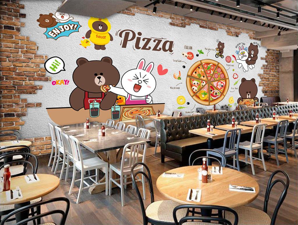 欧美时尚砖墙手绘披萨背景墙