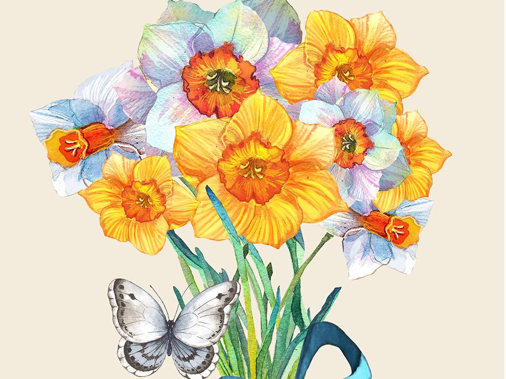 小清新北欧手绘水彩花卉鹦鹉鸟巢植物装饰画