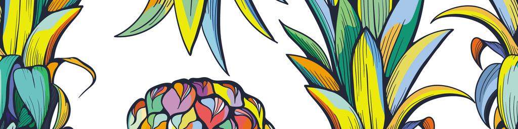 手绘水彩无缝菠萝设计图图片_高清 矢量图素材下载(4.