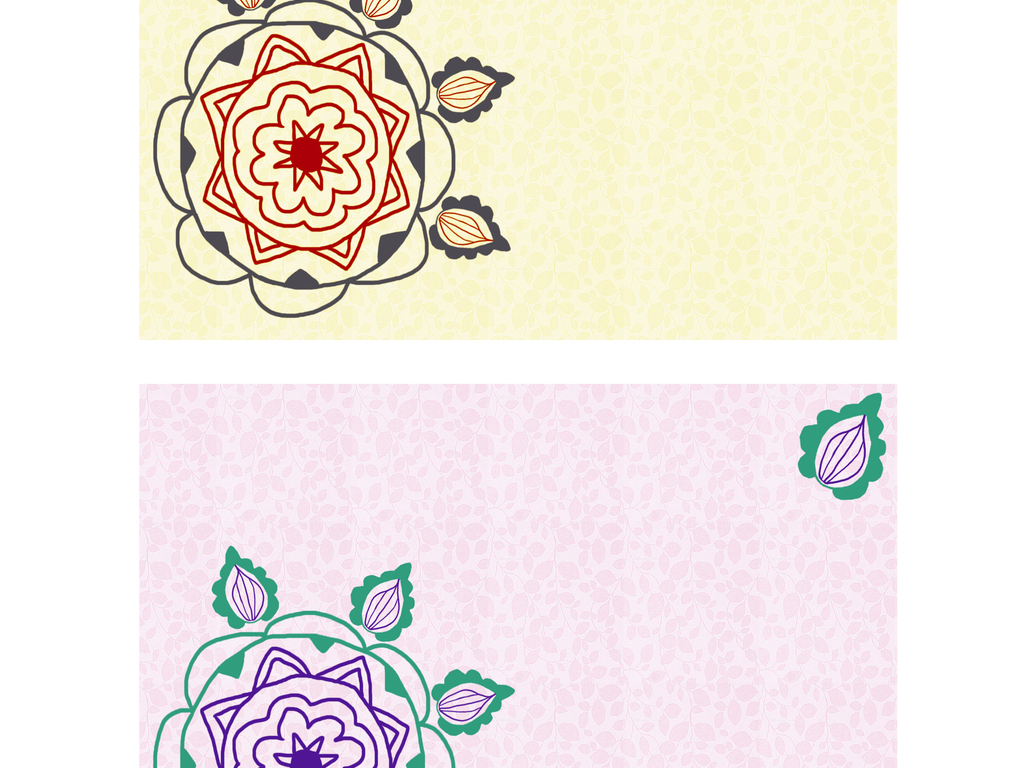 复古民族风植物花卉图案明信片贺卡邀请函