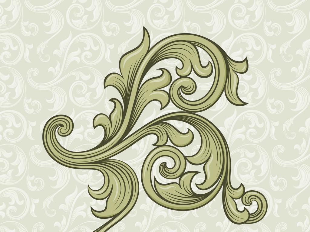 新款手绘欧式花卉花纹卷叶纹图片