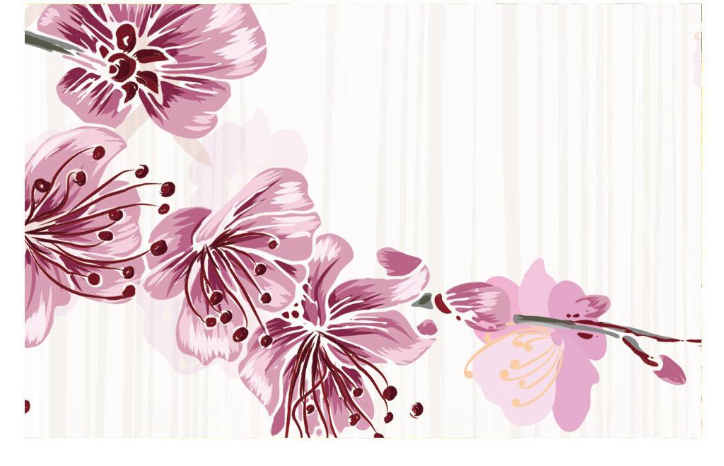 三生三世十里桃花浪漫樱花手绘花卉背景
