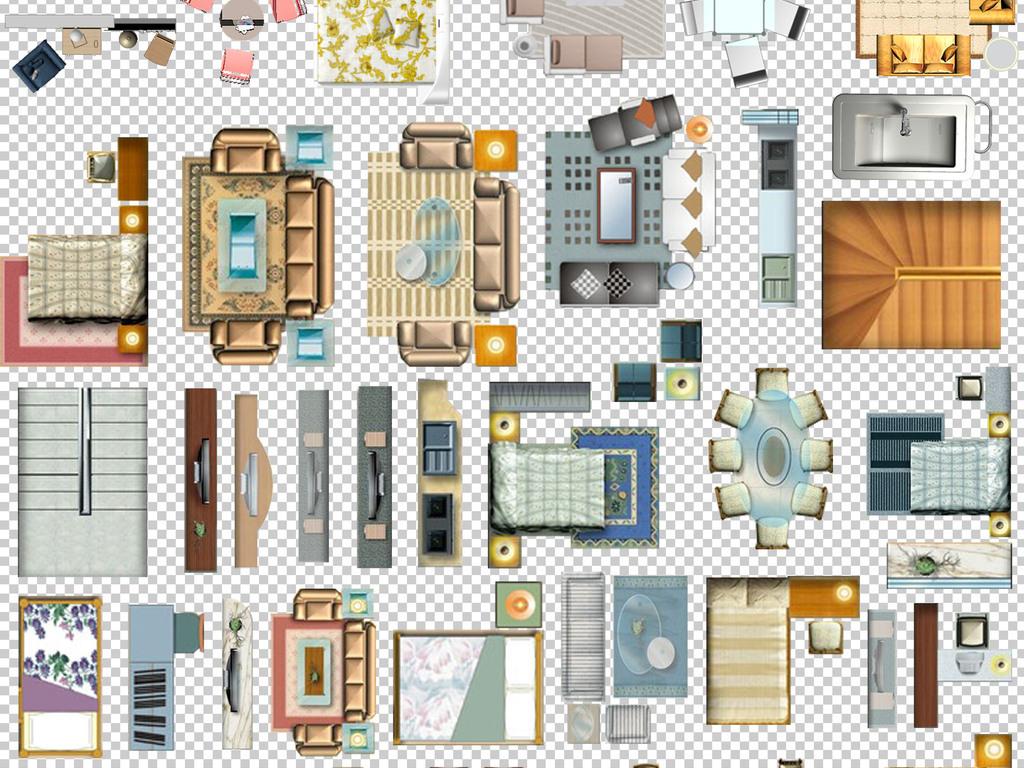 0122室内家具手绘房屋彩色平面家具免抠素材