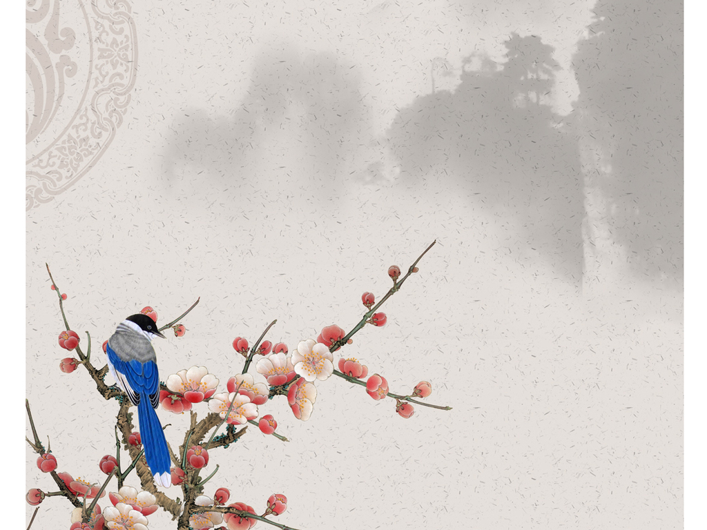 新中式手绘工笔梅花花鸟装饰画玄关(图片编号:)_山水