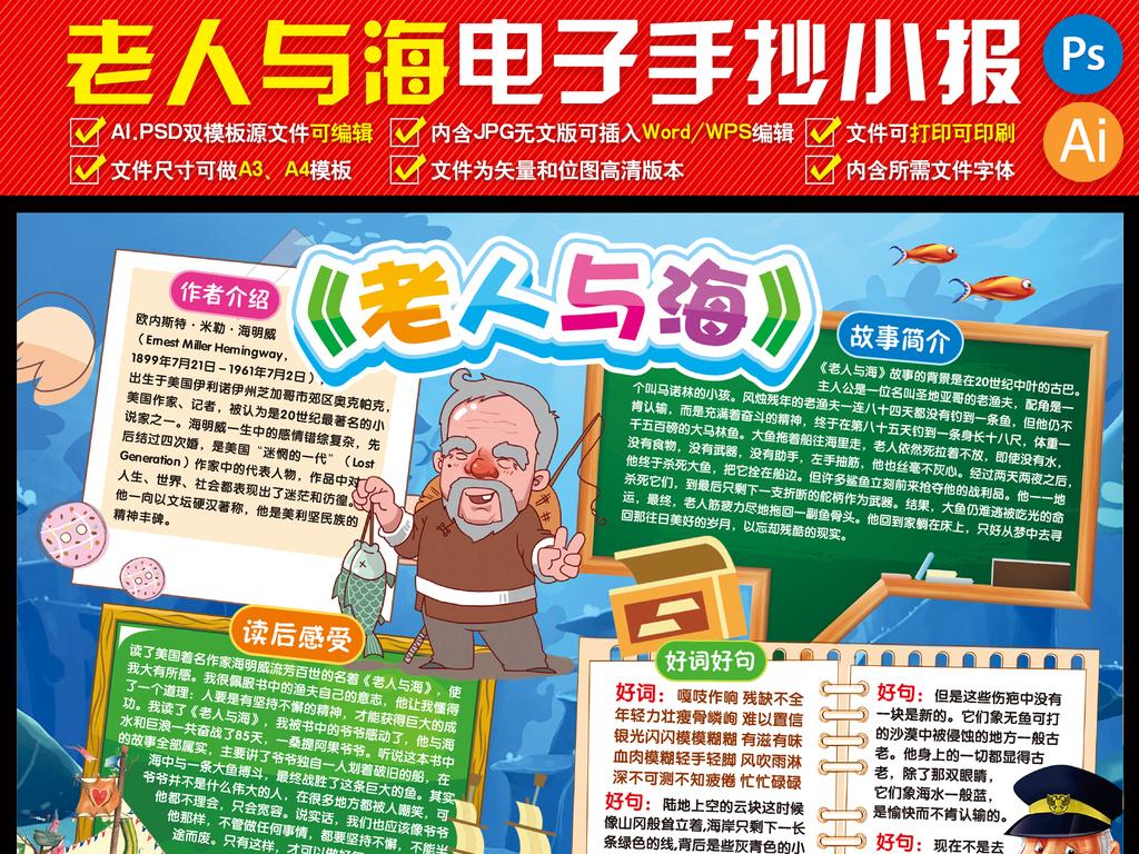 老人与海小报读书阅读后感手抄小报名著小报