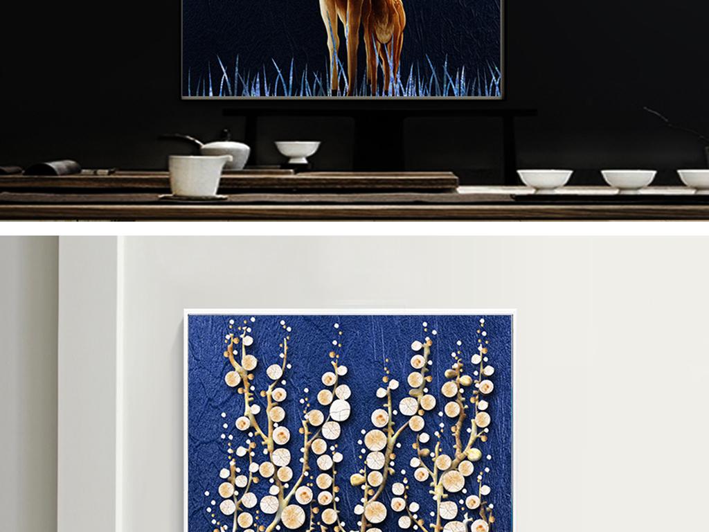 现代简约创意木块立体麋鹿装饰画玄关背景图片