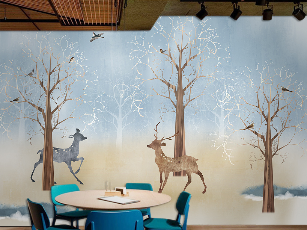 手绘梅花鹿背景墙