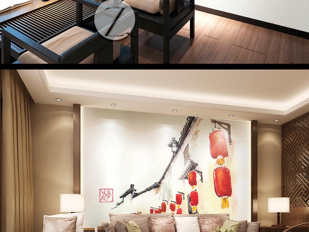 背景墙|装饰画 电视背景墙 手绘电视背景墙 > 中式背景墙红灯笼吉祥