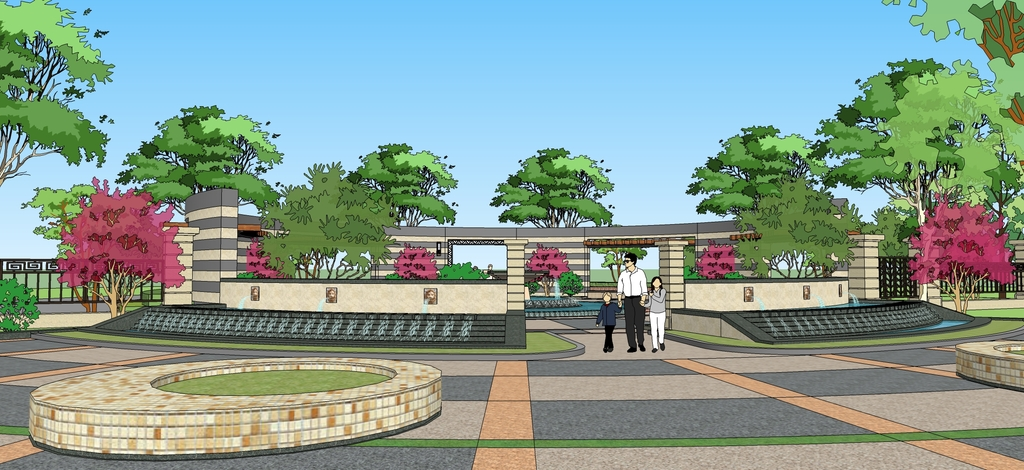 公园广场景观节点小区入口景观水景小品su模型设计图