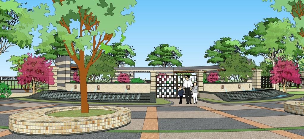 公园广场景观节点小区入口景观水景小品su模型