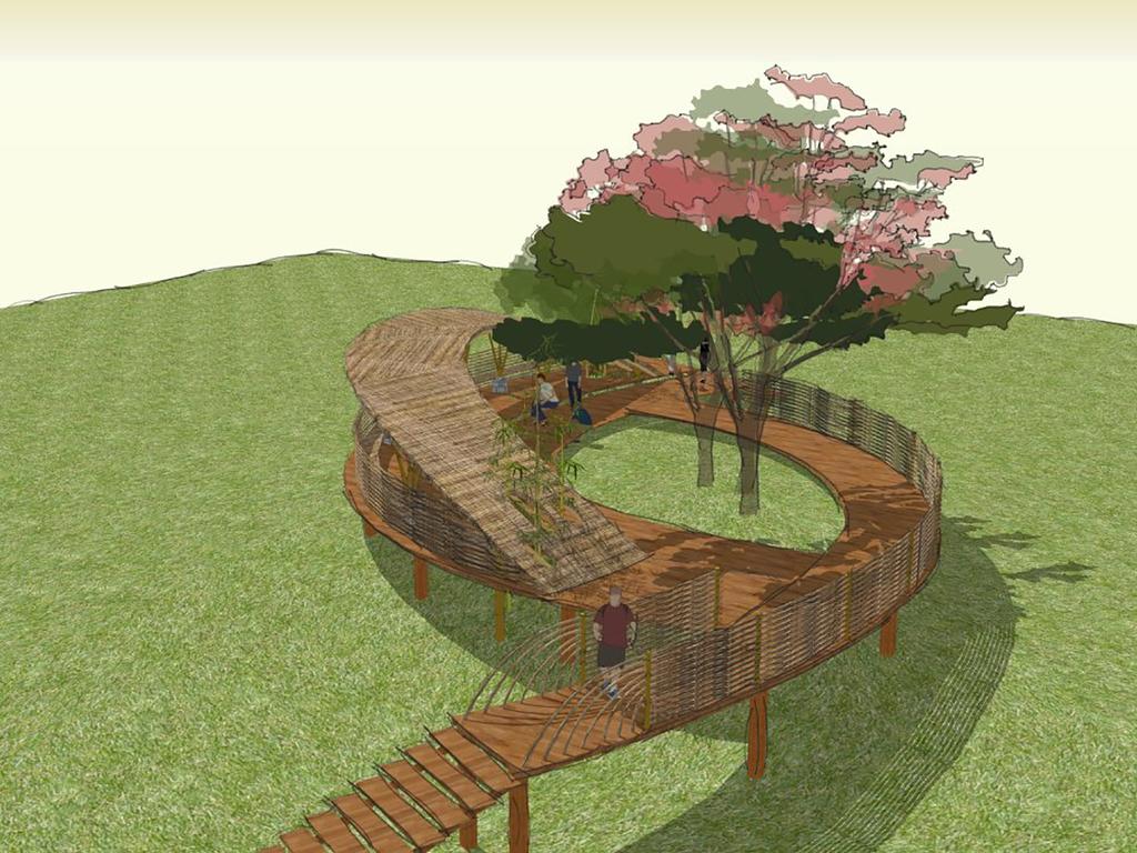 廊桥木栈道景观小品构筑物