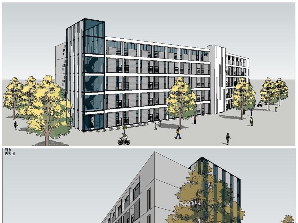 大学校园学生公寓建筑su模型素材设计图下载(图片0.65