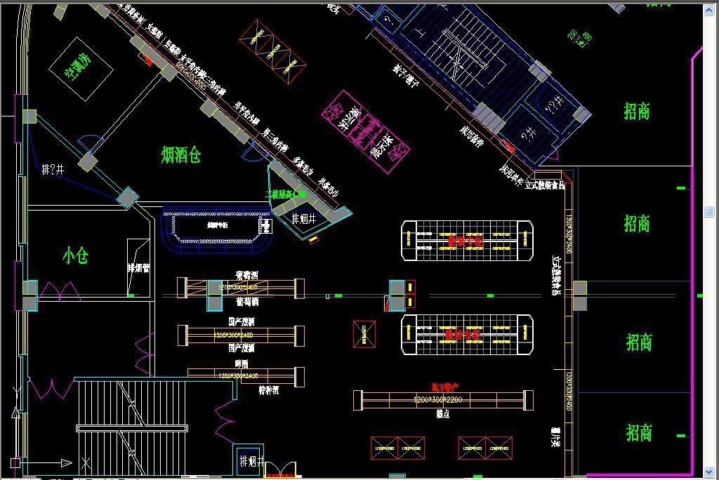 大型超市商场cad平面布置图
