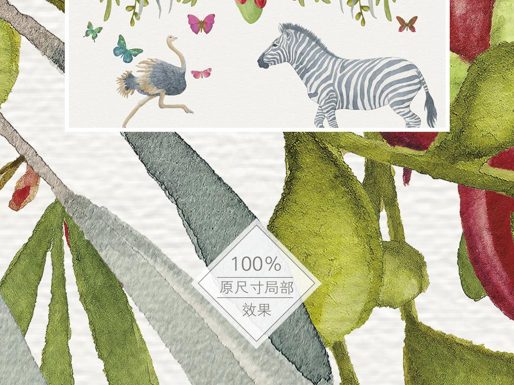 田园风手绘花卉动物背景墙壁纸壁画