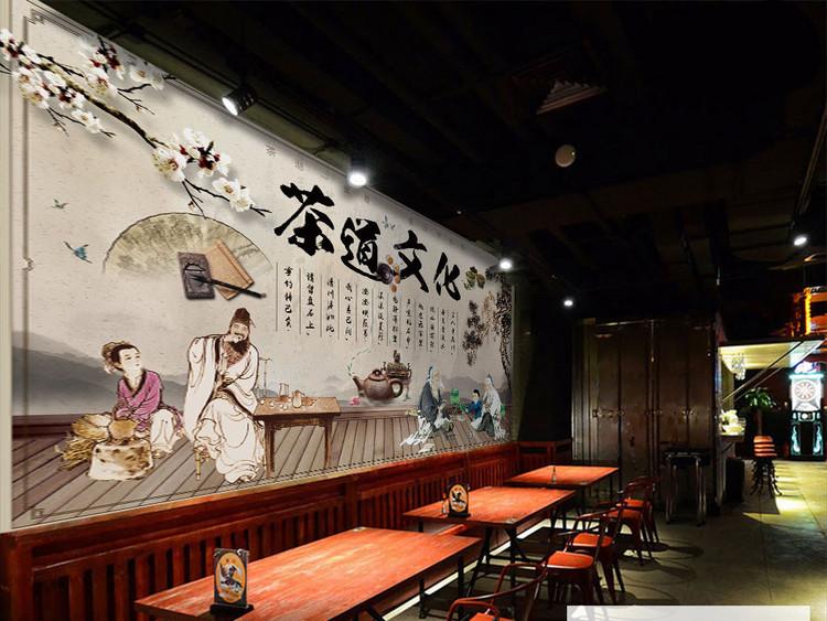 复古养生之道茶道文化养生工装背景墙