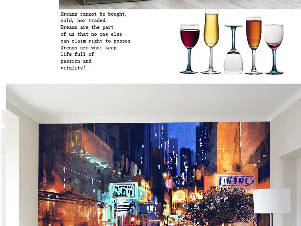 高清繁华城市欧美街景手绘背景墙壁画装饰画图片