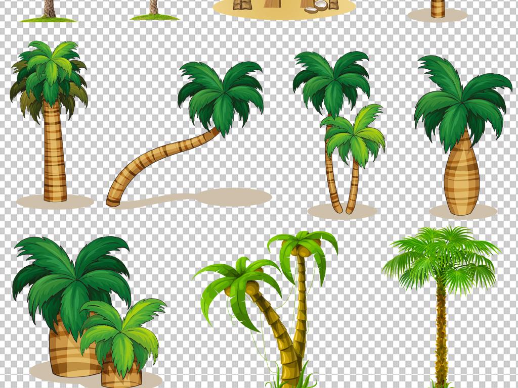 卡通手绘椰子树png免抠素材透明元素