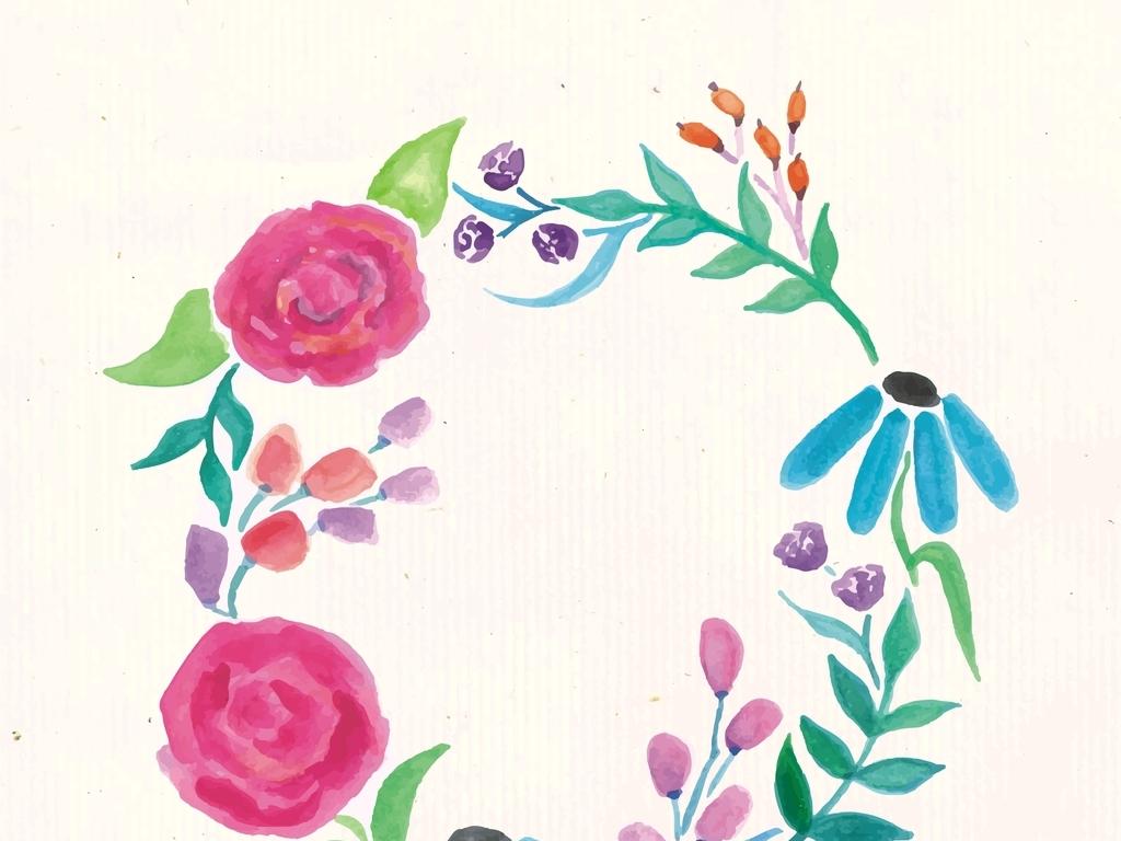 手绘植物花卉花环图案素材