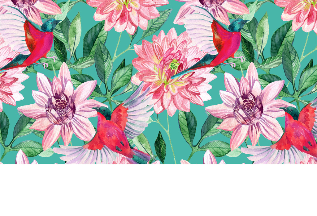 欧式手绘牡丹复古花卉背景墙