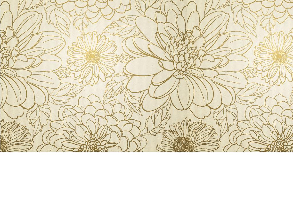 欧式金色菊花勾勒手绘背景墙