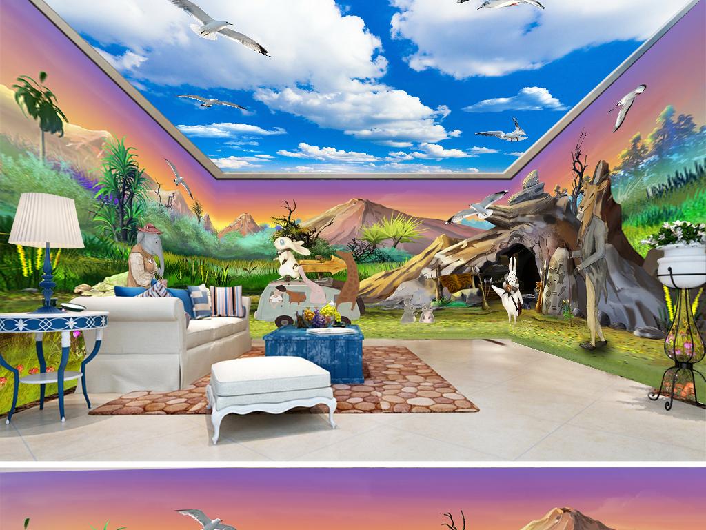 手绘卡通动物世界守望全屋背景墙