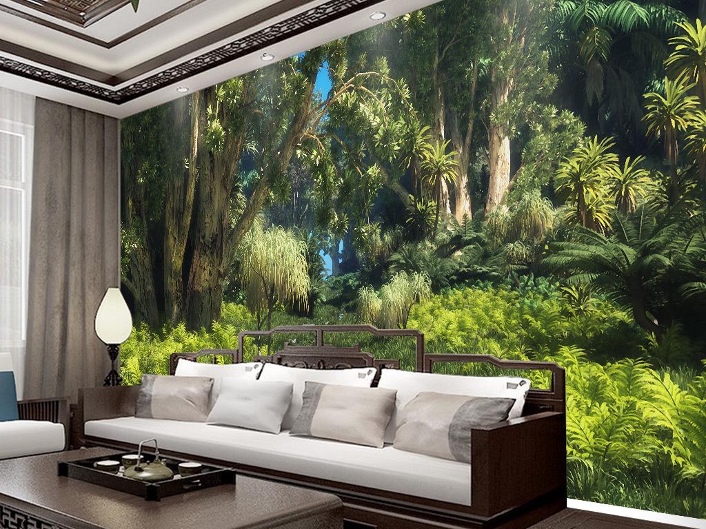 酒店|餐饮业装饰背景墙 > 中世纪手绘热带雨林植物风景背景墙壁画