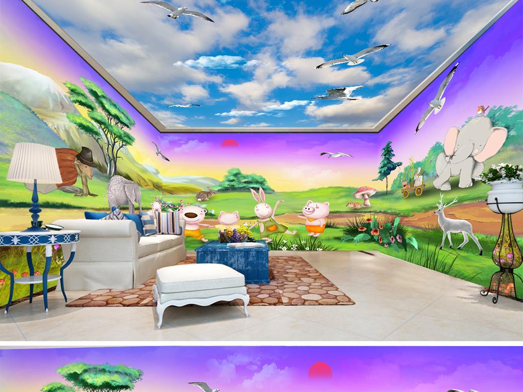 手绘卡通儿童房森林动物全屋背景墙(图片编号:)_主题
