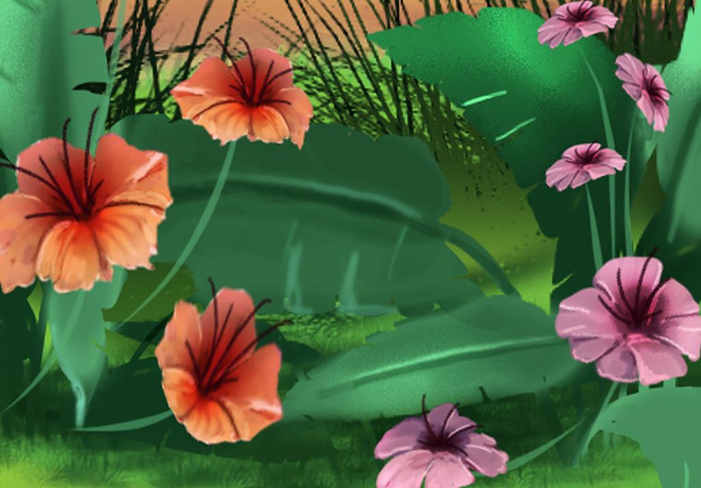 手绘卡通儿童房森林动物全屋背景墙